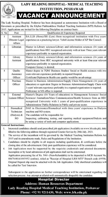 Lady Reading Hospital Peshawar LRH Jobs 2021
