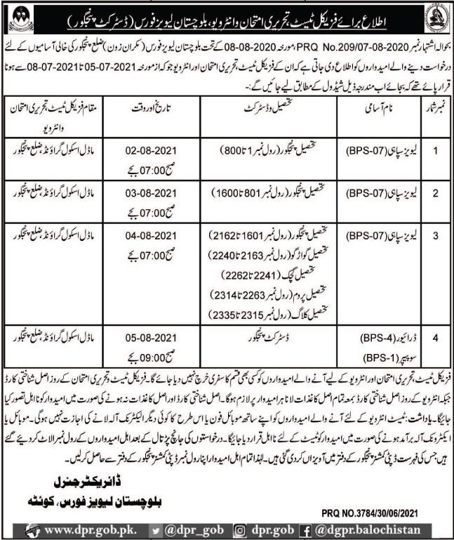 Levies Jobs 2021 in Pakistan Latest Careers