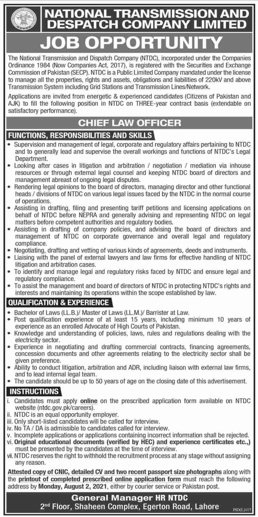National Transmission & Despatch Company Limited NTDC Jobs 2021