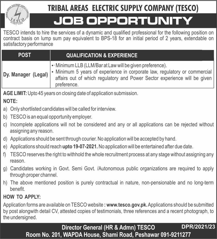 Tribal Areas Electric Supply Company TESCO Jobs 2021