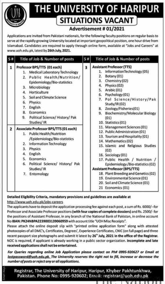University of Haripur UOH Jobs 2021