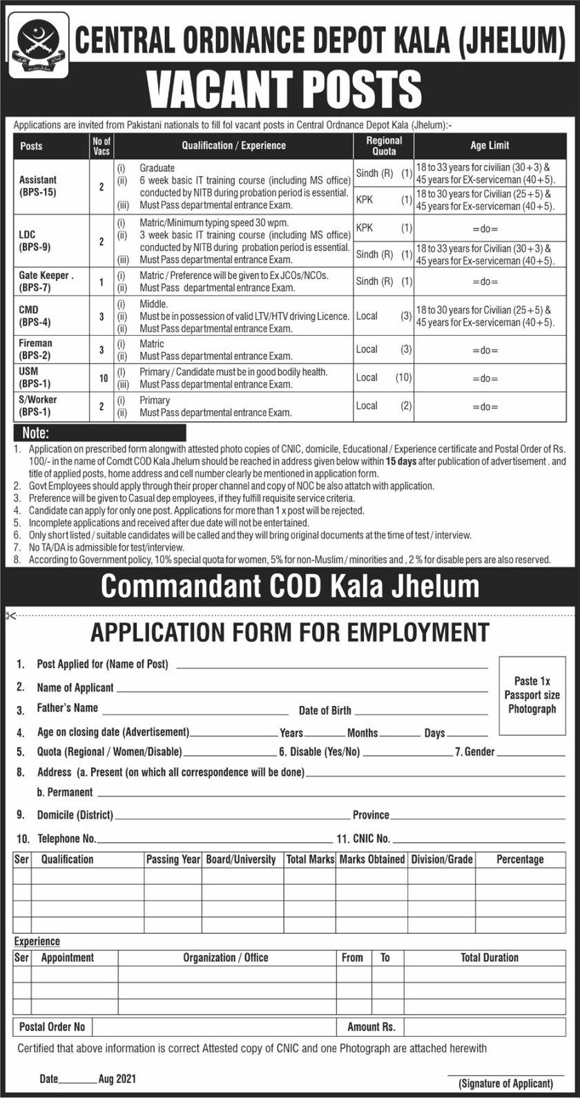 COD Kala Jhelum Jobs 2021 Central Ordnance Depot