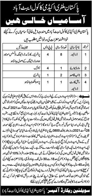 Pakistan Military Academy Kakul Abbottabad PMA Jobs 2021