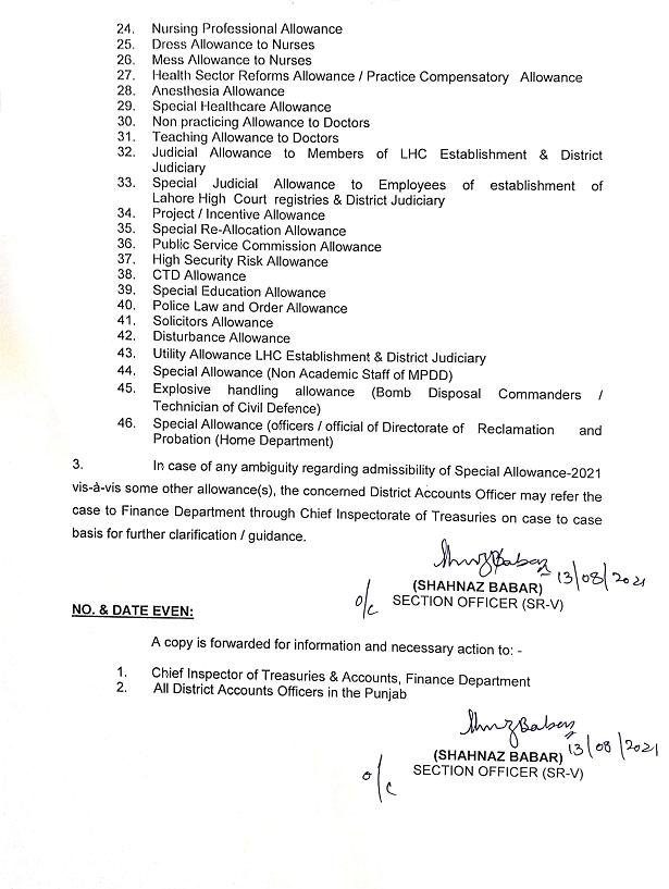 Special Allowance 2021 Punjab Finance Department