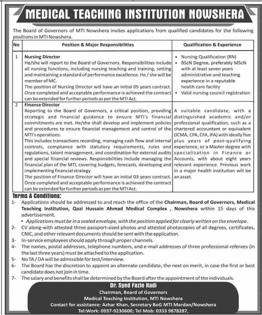 Nowshera Medical College Jobs 2021 Advertisement