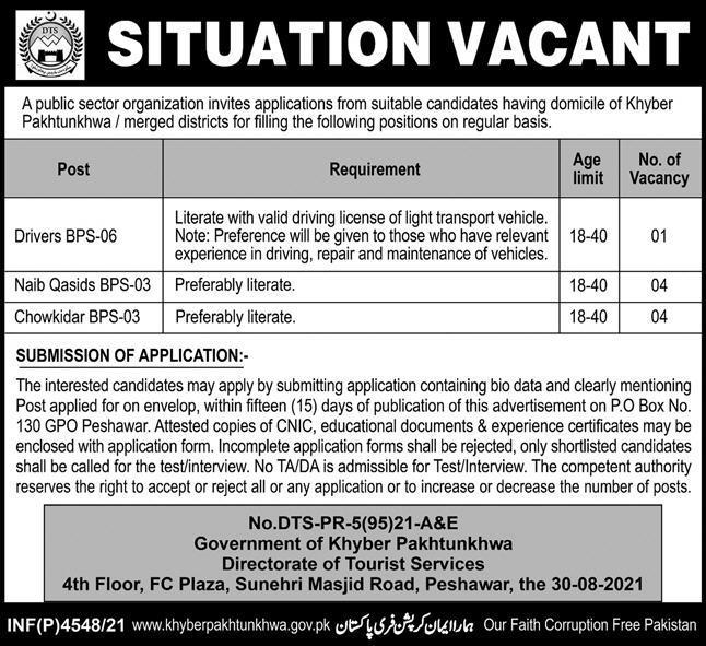 Directorate of Tourist Services KPK Jobs 2021
