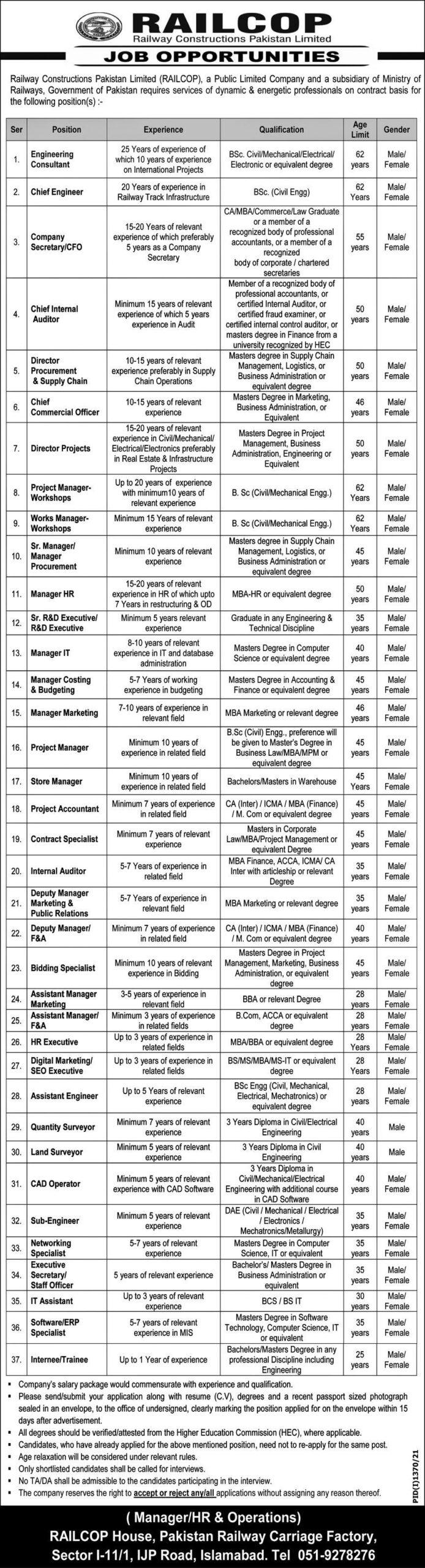Railcop Jobs 2021 Railway Constructions Pakistan Limited