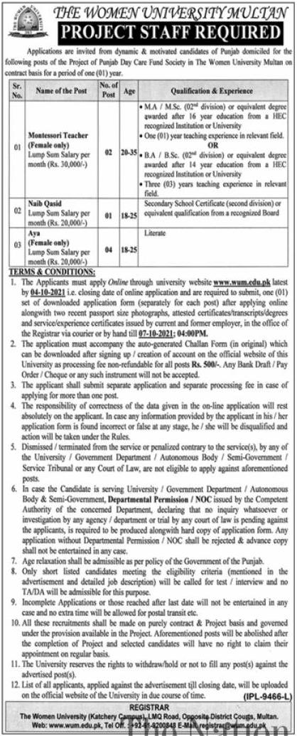 Women University Multan WUM Jobs 2021