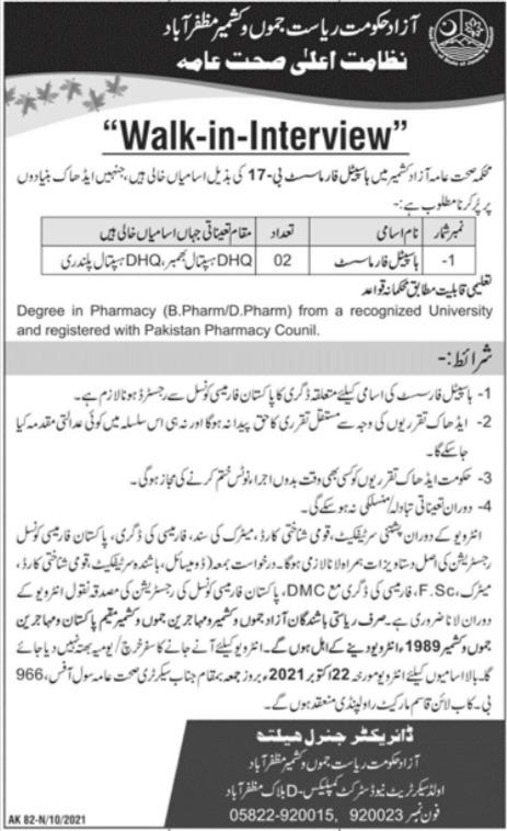 Health Department Jobs 2021 in Pakistan