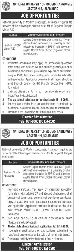 National University of Modern Languages NUML Jobs 2021