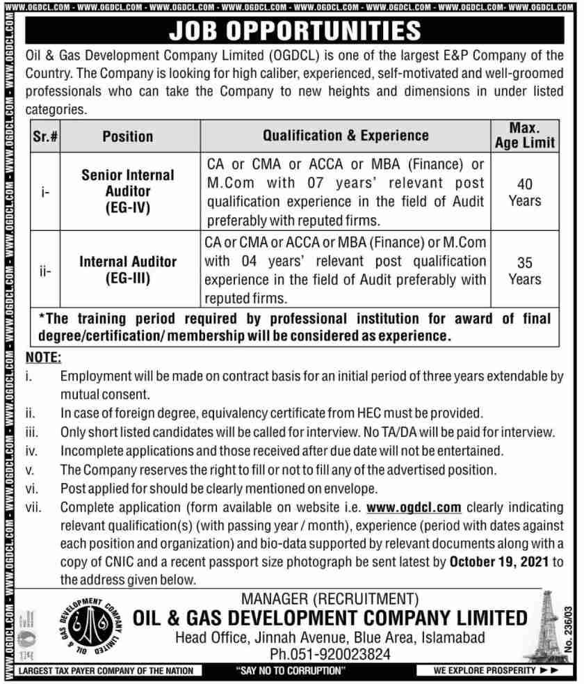 OGDCL Jobs 2021 Oil and Gas Development Company Limited