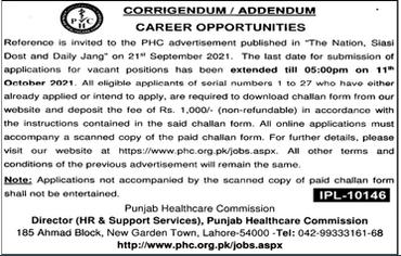 Punjab Healthcare Commission PHC Jobs 2021