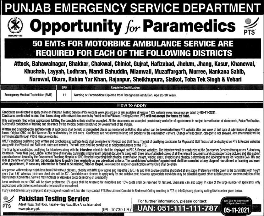 Emergency Rescue Service Rescue 1122 Jobs 2021