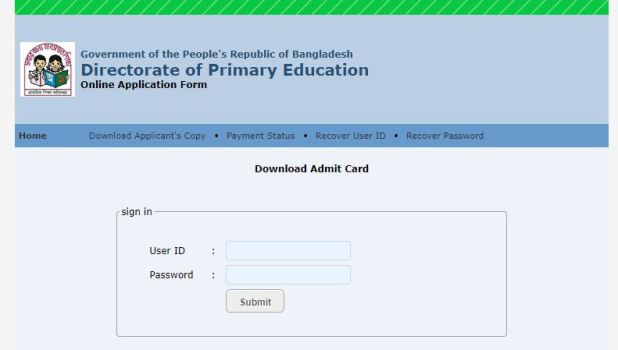 Primary Assistant Teacher Admit Card Download dpe.gov.bd