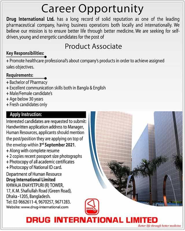 Drug International Limited Job Circular 2021