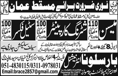 Oman construction company jobs information | JobsinUrdu