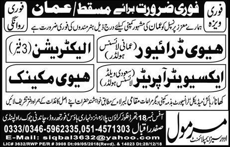 Oman drivers and operators jobs - Oman jobs | JobsinUrdu