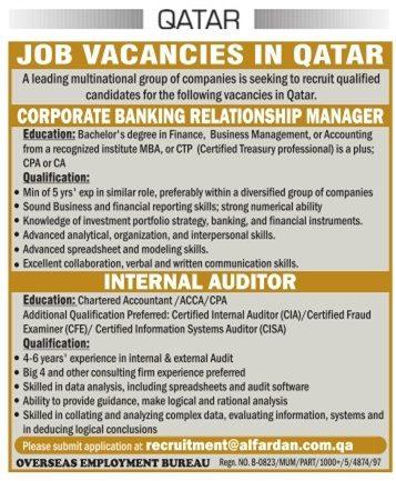 Qatar Bankers Jobs Advertisement