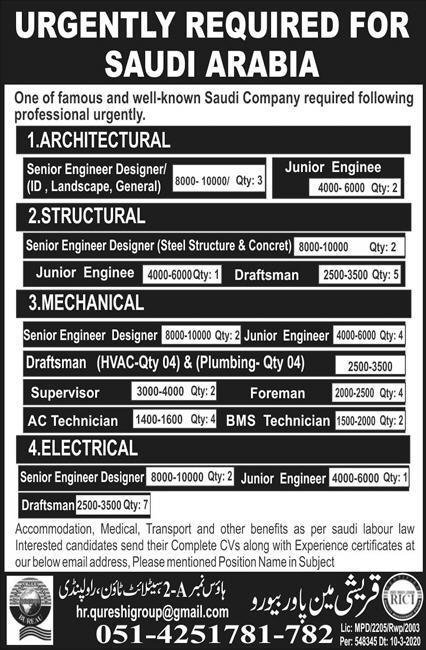 Saudi Arabia Engineering Jobs Advertisement