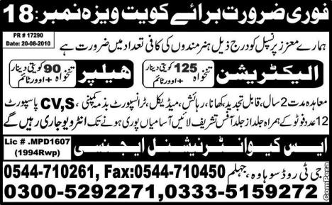 Kuwait Electrician and Helpers Jobs
