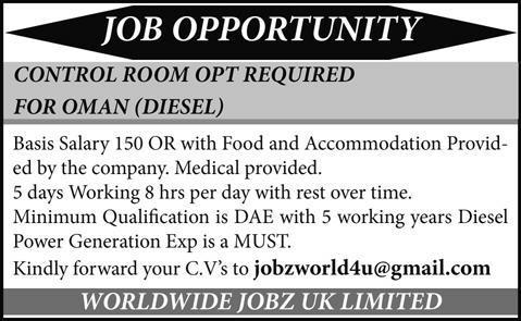 Oman Control Room Operators Jobs