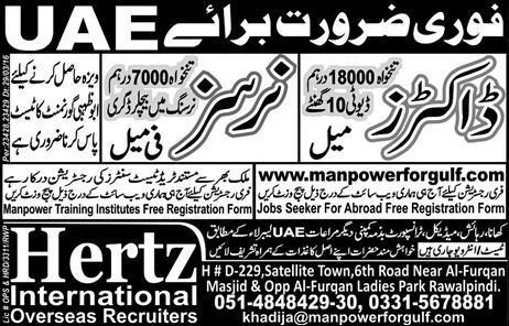 UAE Doctor and Nurses Jobs Advertisement