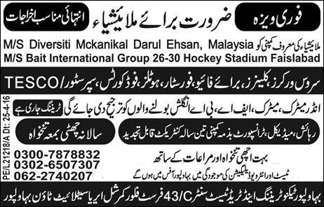 Malaysia Service Workers and Cleaners Jobs Advertisement