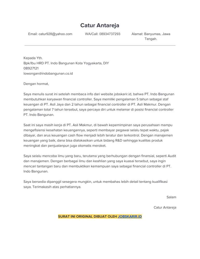 contoh application letter 45 Finansial controller