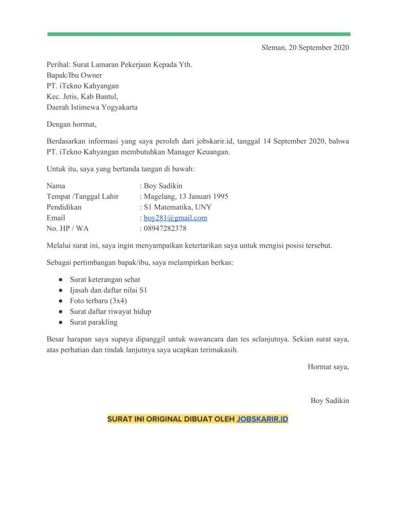 contoh cover letter 43 Manager keuangan