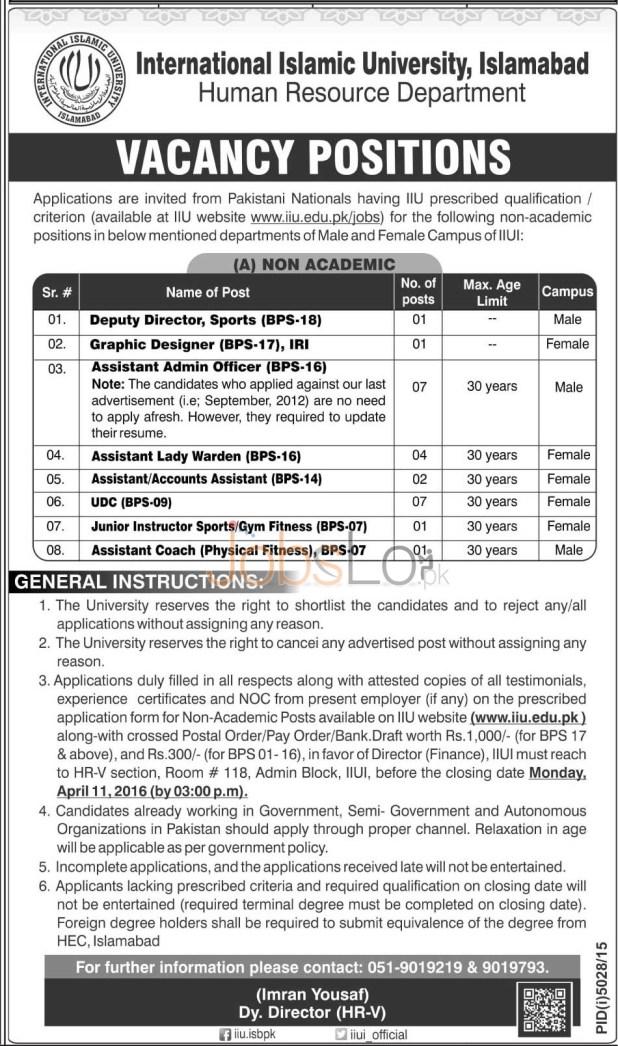 IIU Islamabad Jobs