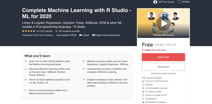 Linear & Logistic Regression, Decision Trees, XGBoost, SVM & other ML models in R programming language – R studio