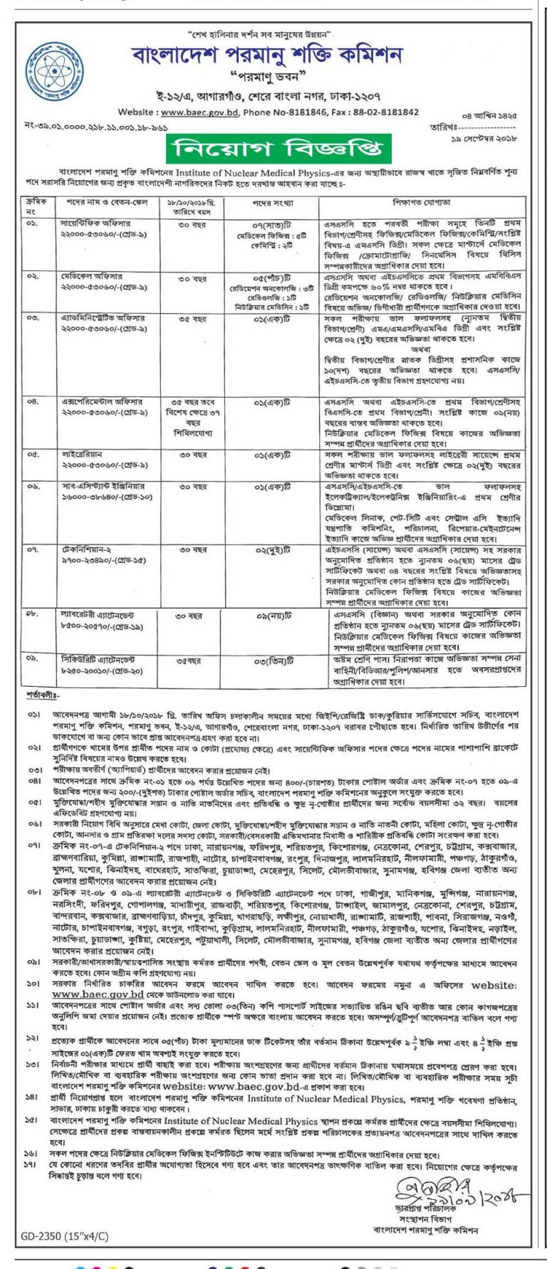 Bangladesh Atomic Energy Commission BAEC Job Circular  2018