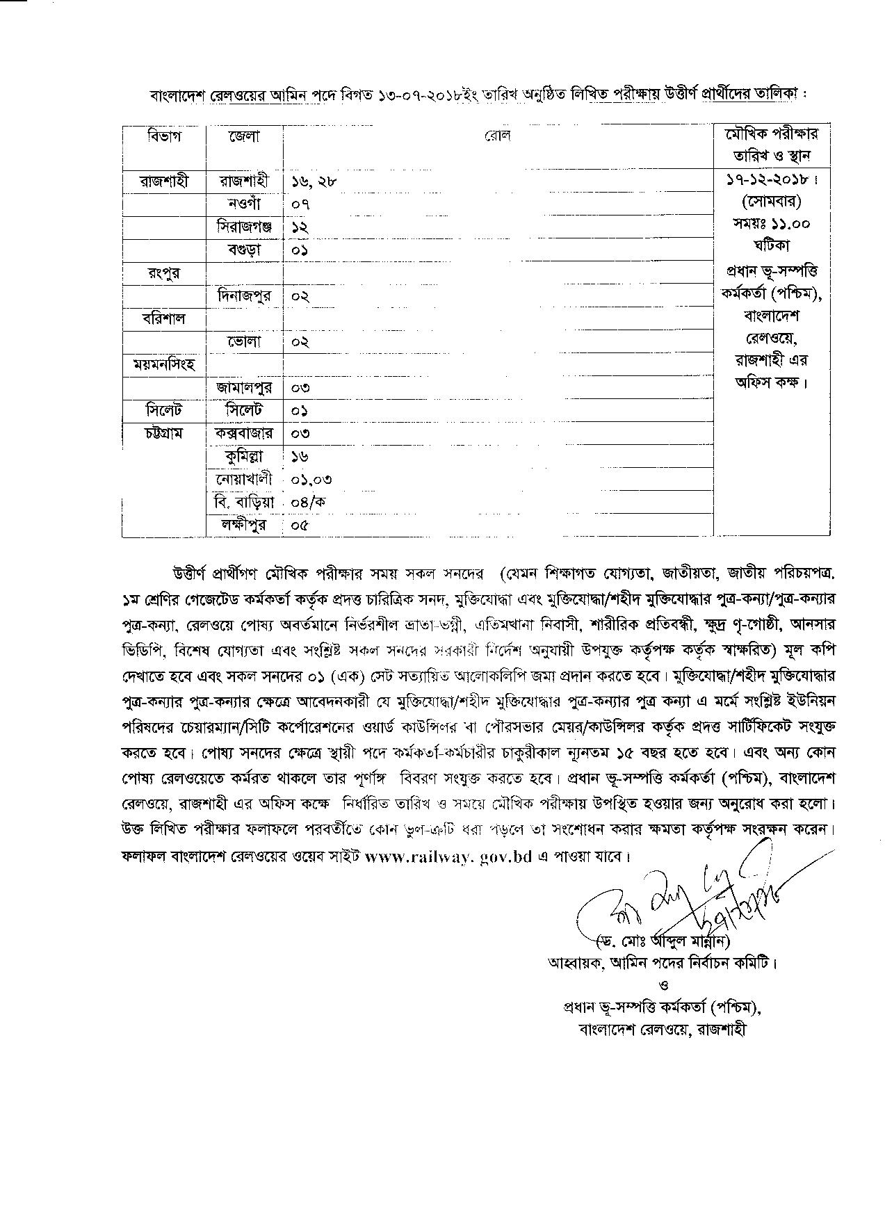 Bangladesh Railway Exam Result Viva Date 2018
