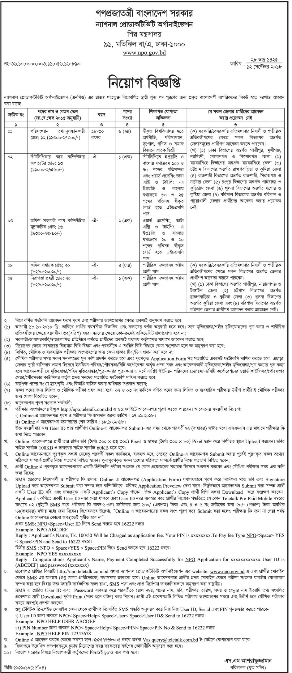 National Productivity Organization (NPO) job circular & Apply Instruction -2018