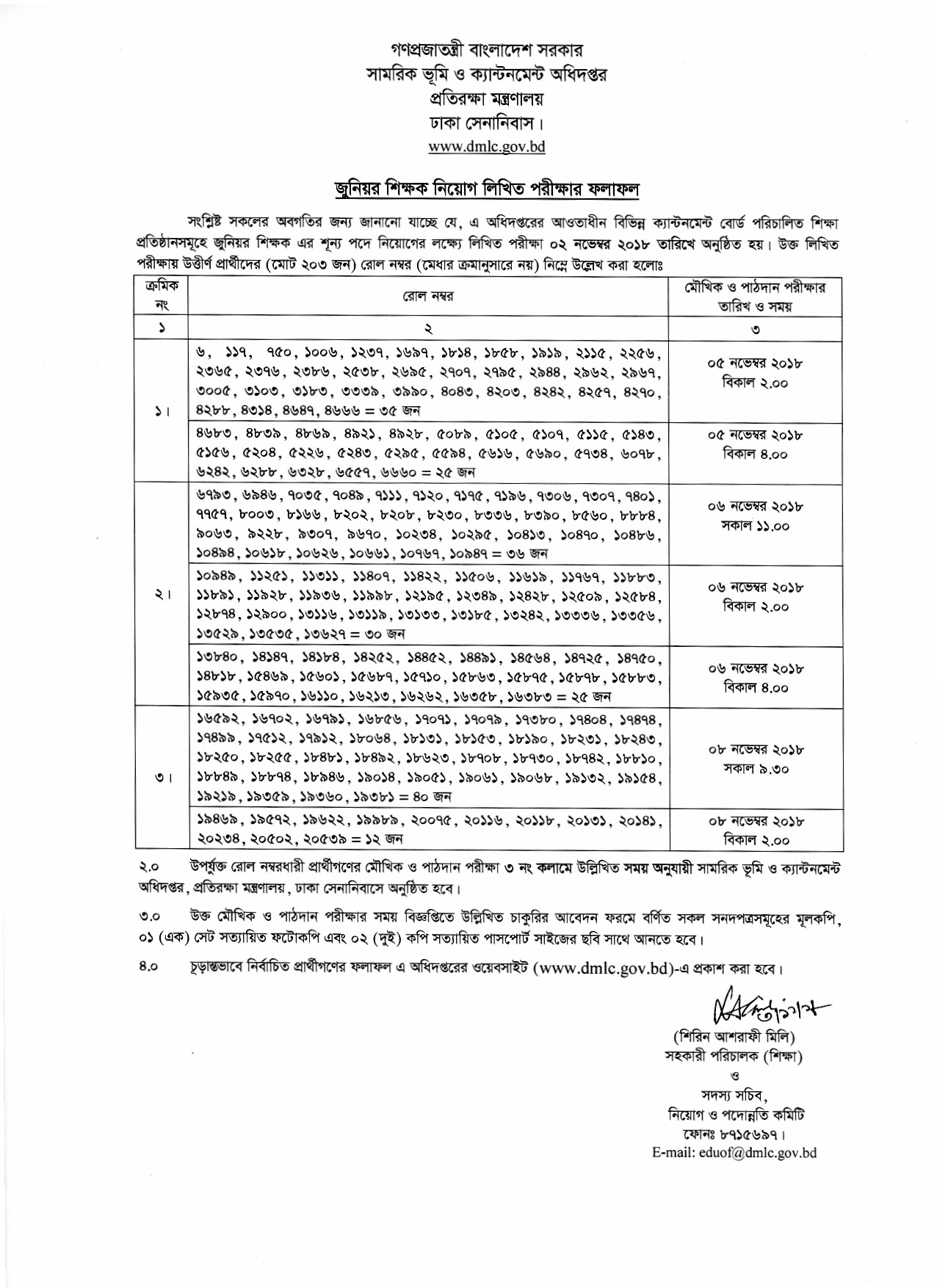 DMLC Junior Teacher MCQ Written Exam Result 2018