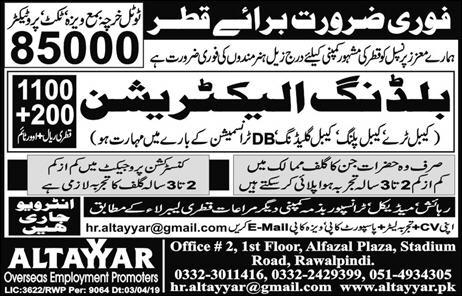 Building electrician jobs in Qatar advertisement