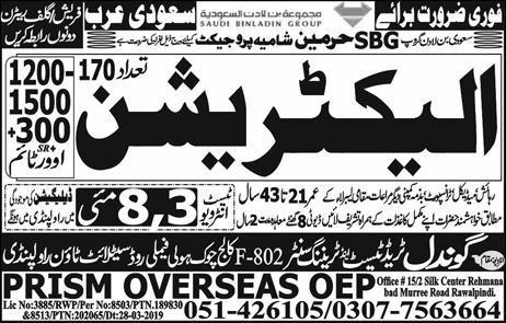 Electrician jobs in Saudi Arabia advertisement