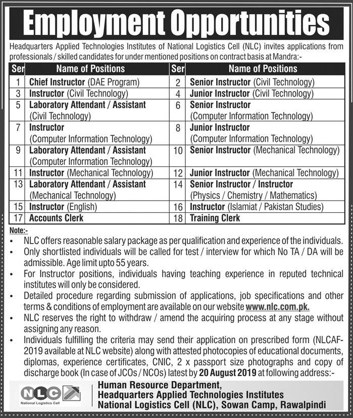 National Logistics Cell Jobs Advertisement