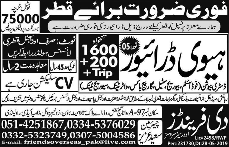 Heavy Drivers Jobs in Qatar Advertisement