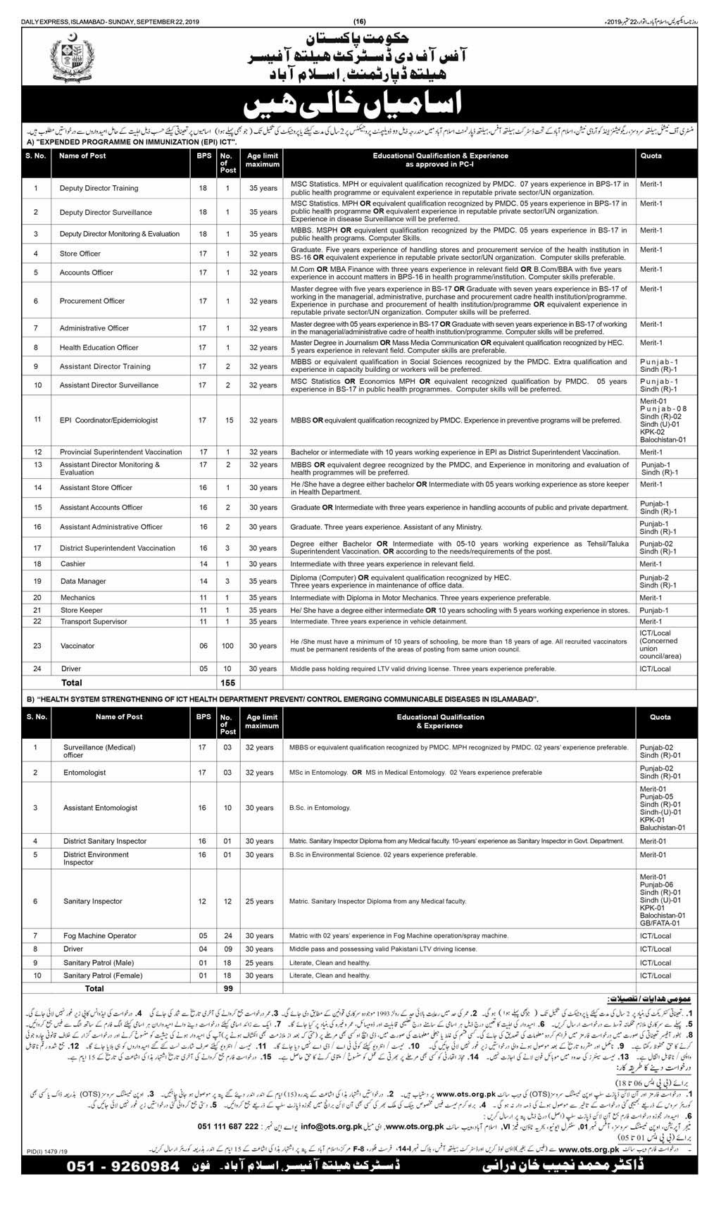 Islamabad Health Department Jobs Advertisement