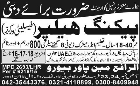 Packing Helpers jobs in UAE Advertisement