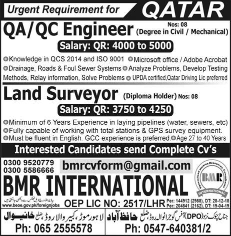 Engineer and Land Surveyor Jobs in Qatar Advertisement