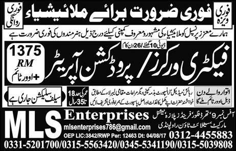 Factory Production Workers Jobs in Malaysia