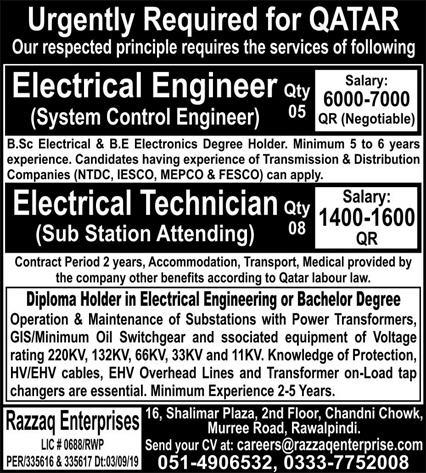 Electrical & Technical Engineers Jobs in Qatar