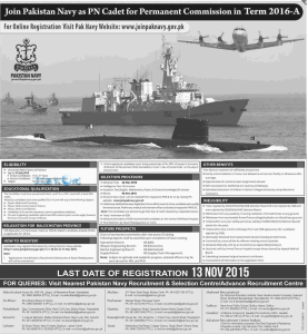 Pakistan Navy Commission Officer Jobs 2016 PN Cadet