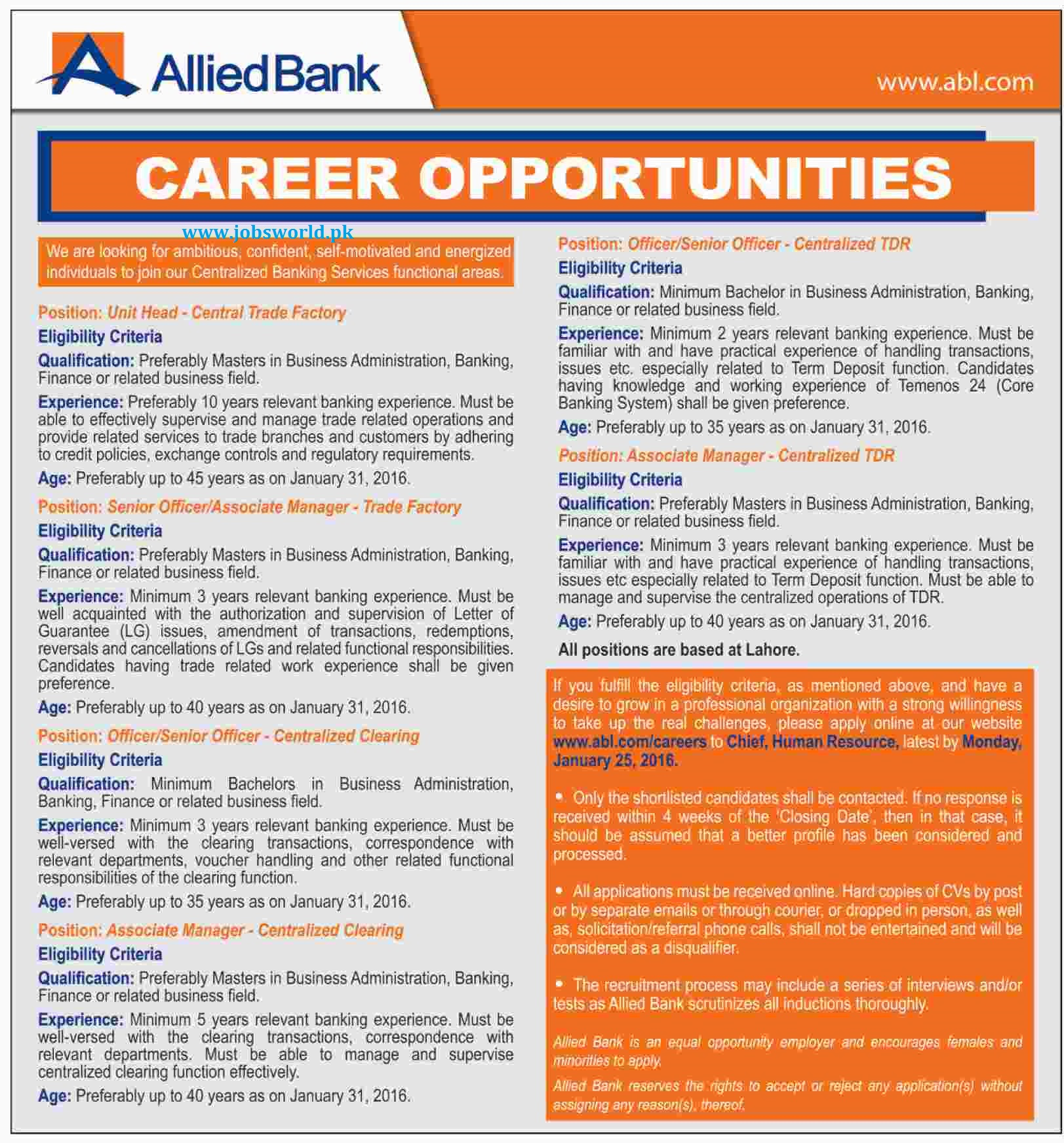 allied bank limited jobs abl latest apply online jobsworld job notice officially published advertisement