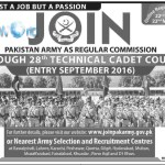 Join Pakistan Army in 28th Technical Cadet Course 2016