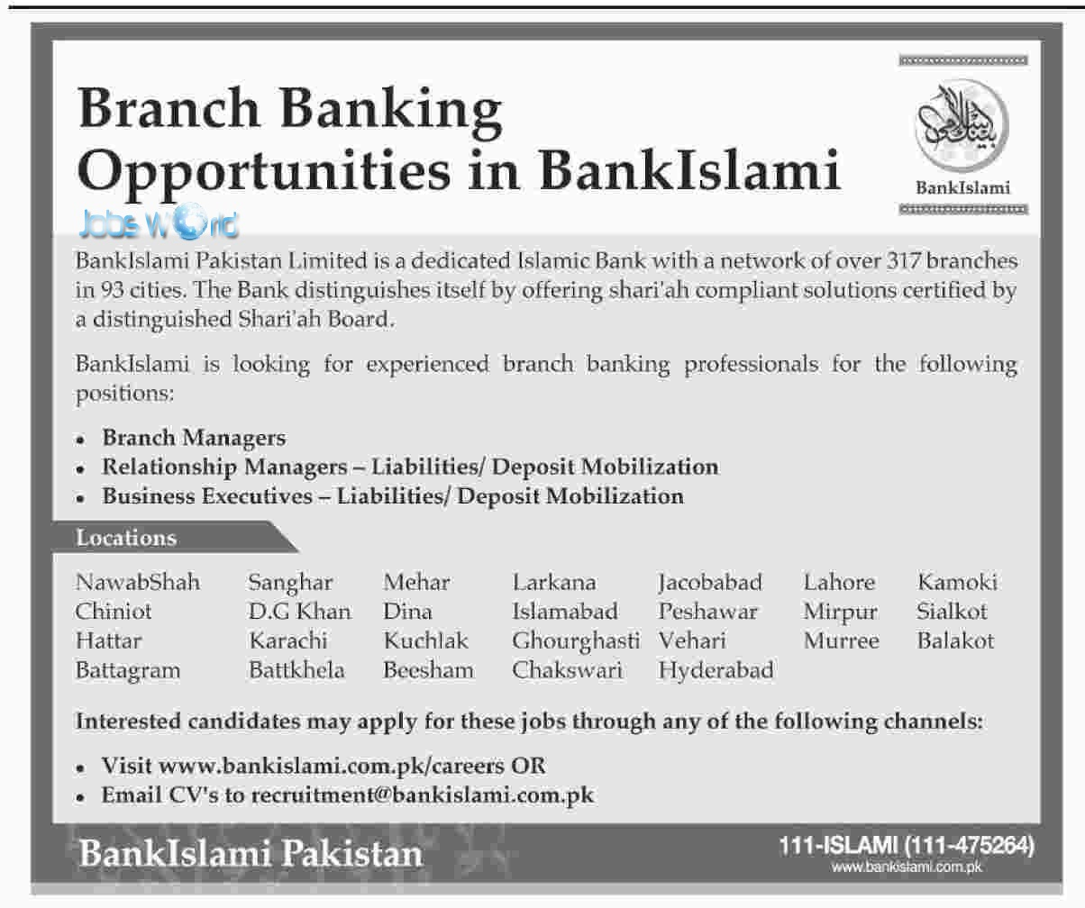 bankislami career opportunities submit cv now jobsworld bankislami career opportunities 2016 submit cv now