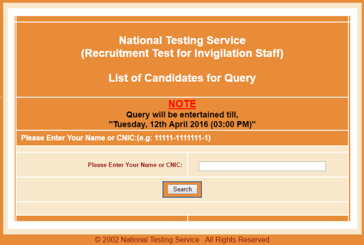 NTS Invigilation Staff 2016