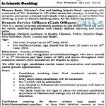 Meezan Bank Jobs 2016 For Cash Officers Branch Services